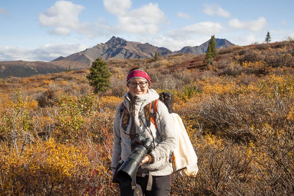 photographer hiking in denali national park