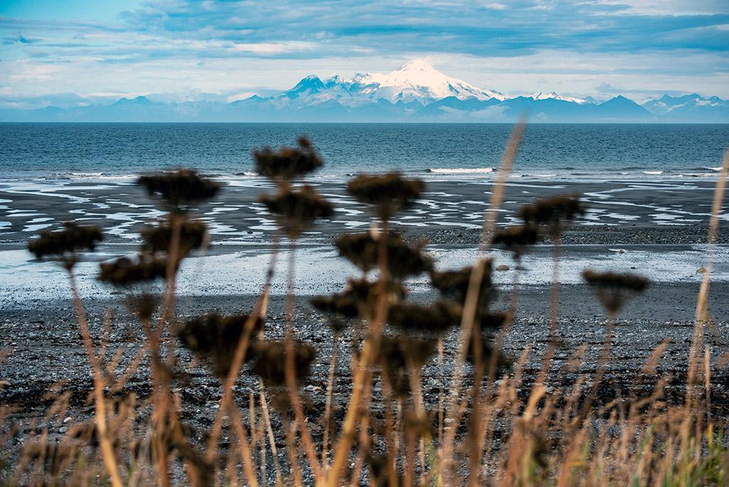 volcano in snow view from anchor point kenai alaska