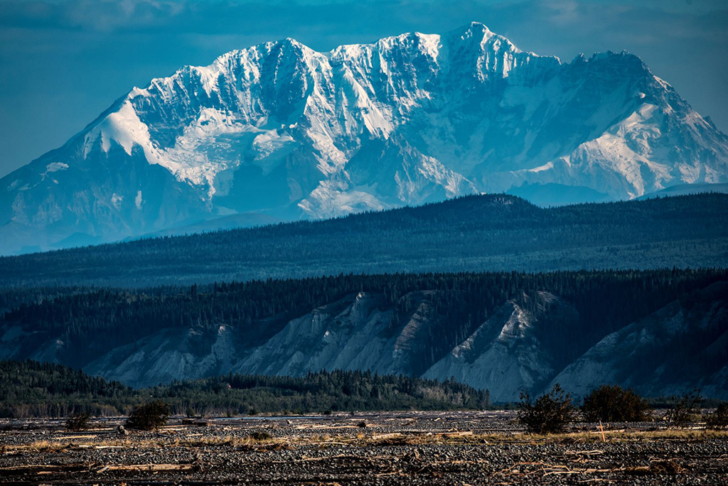 Kennicott Kannecott view from the mine to the mountains in snow