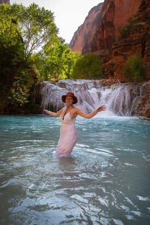Aga dancing in the Beaver Waterfall Havasupai