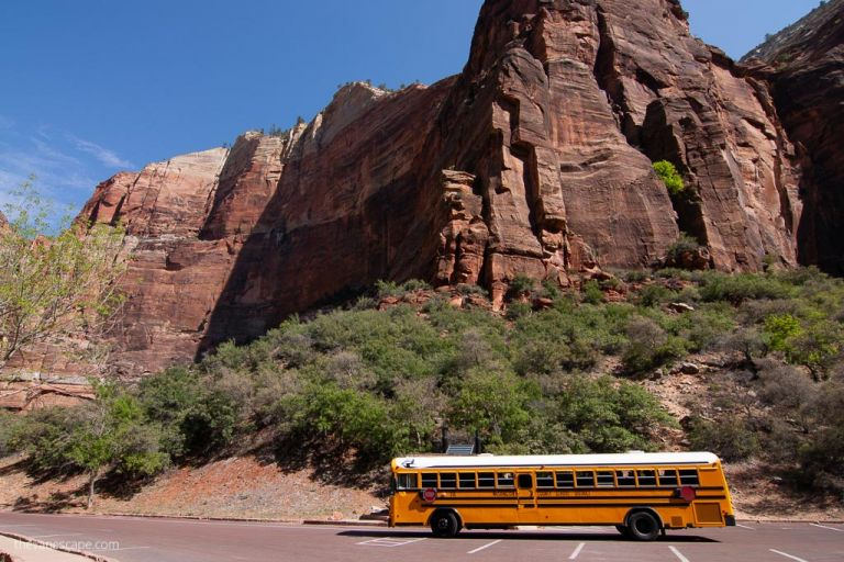 shuttle bus in Zion National Park
