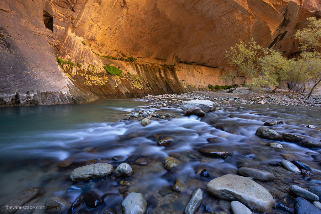 wonderful light in zion national park narrows hike