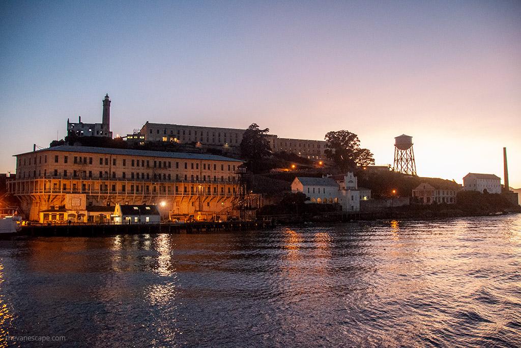 The Alcatraz prison by night